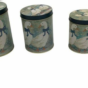 3 vintage metal tin canisters winter geese kitchen